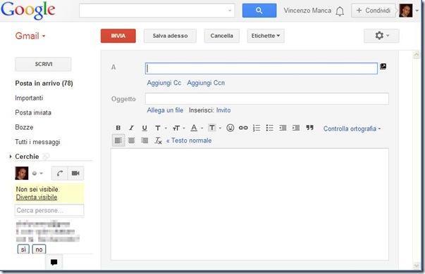Gmail OldCompose vecchia interfaccia composizione email