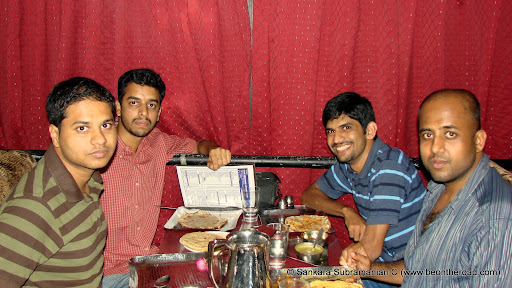 Friends enjoy a sumptuous dinner at Gyan Vaishnav Dhaba, Chennai
