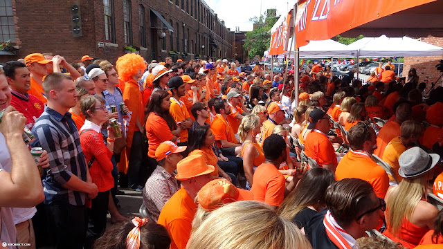 Dutch supporters outside at SCHOOL restaurant watching Netherlands VS Argentina in Toronto, Ontario, Canada