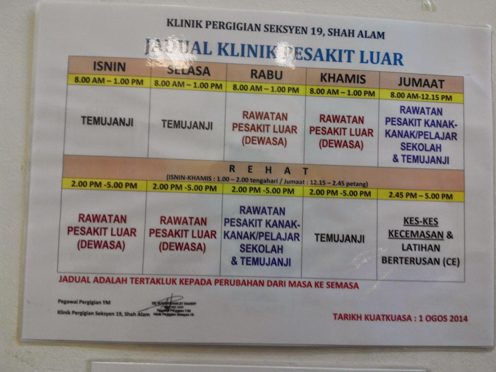 Klinik Kesihatan Shah Alam Seksyen 7 Waktu Operasi Soalan 22