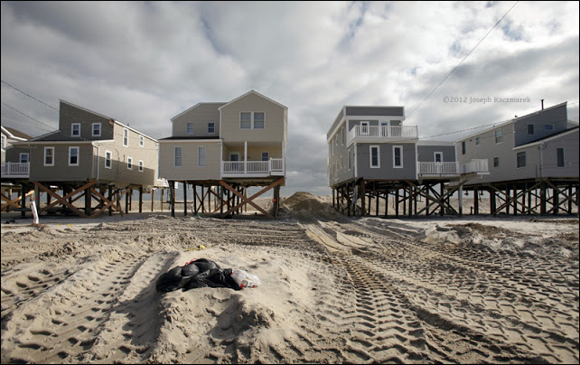 Raised homes on Long Beach Island two weeks after Hurricane Sandy, 15 November 2013. Photo: Joseph Kaczmarek