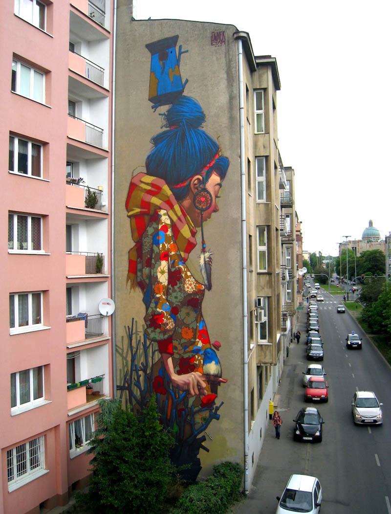 Street art graffiti by Sainer Etam Crew Lodz Poland mural
