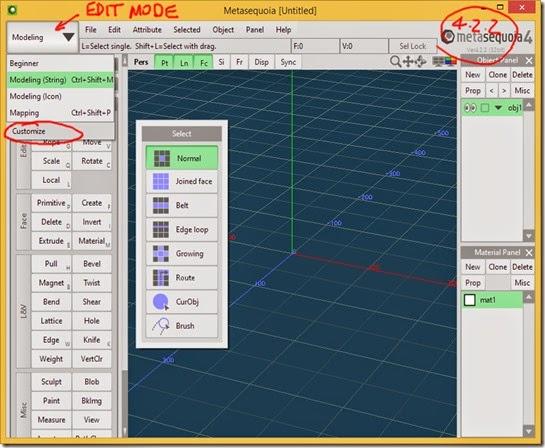 Customize option added to Edit Mode menu