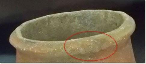 Cántaro de la Cova d´En Pardo - Detalle de las huellas del artesano