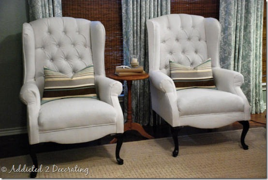 Reupholstered Wingback Chairs Addicted 2 Decorating 174
