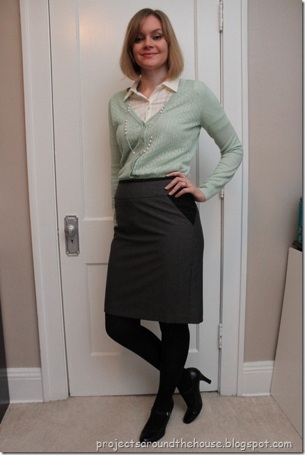 tucked in mint cardi, cream button down, gray pencil skirt