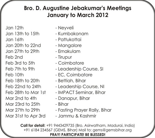 Bro Augustine Jebakumar's Meetings_Jan to Mar 2012