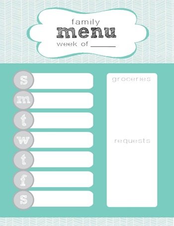 herringbone weekly menu printable