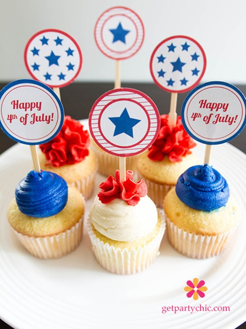getpartychic.com patriotic cupcake toppers 4th of july