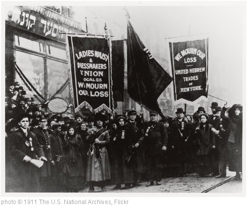 'Demonstration of Protest and Mourning for Triangle Shirtwaist Factory Fire of March 25, 1911, 04/05/1911' photo (c) 1911, The U.S. National Archives - license: http://www.flickr.com/commons/usage/