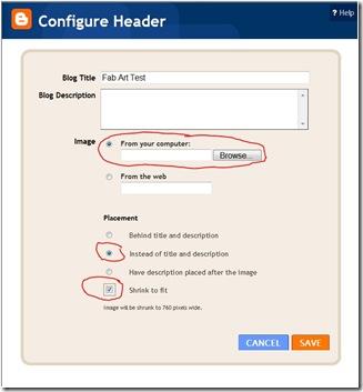 picasa3 configure header