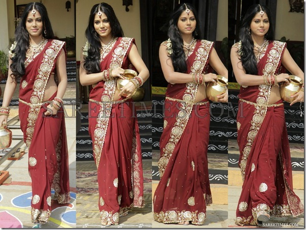 Rachana_Mourya_Maroon_Saree