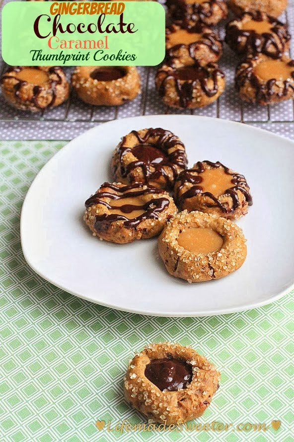 Gingerbread Chocolate Caramel Thumbprint Cookies with a gooey caramel ...