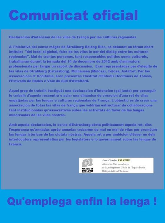 comunicat de Jean-Charles Valadier