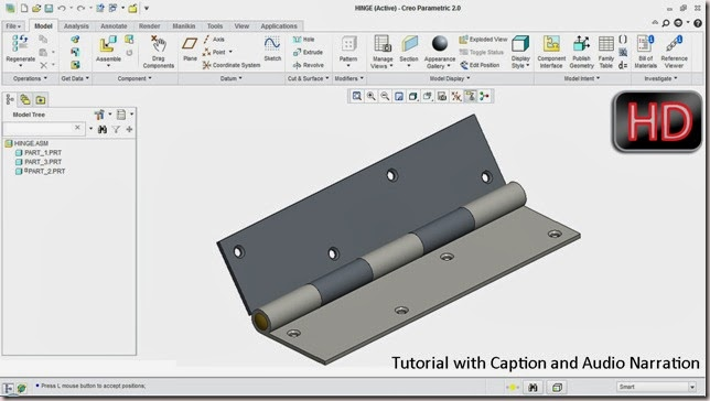 Setting up a Hinge (Pin) Mechanism in Creo Parametric 2