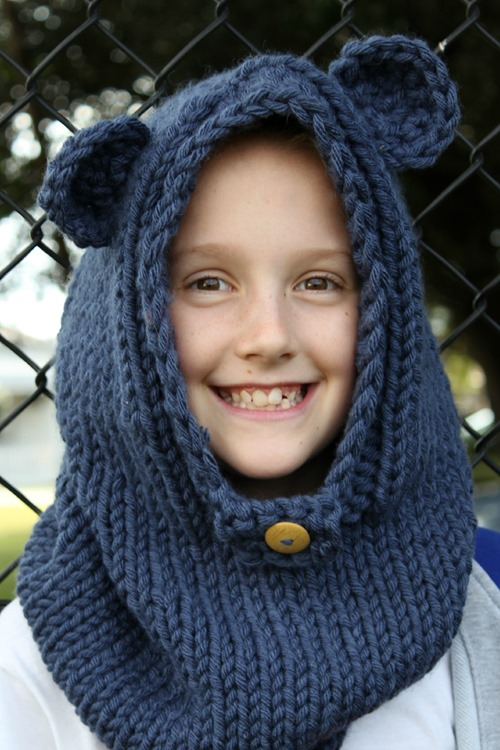miss D wearing burton bear cowl