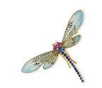 A Diamond, Multi-Gem and Enamel Dragonfly Brooch. Estimate: $5,000-$7,000