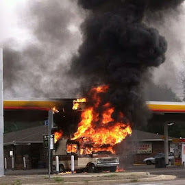camper fire at gas station by Tammy Potter - News & Events Disasters
