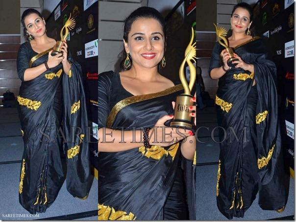 Vidya_Balan_Black_Sari_IIFA_Awards
