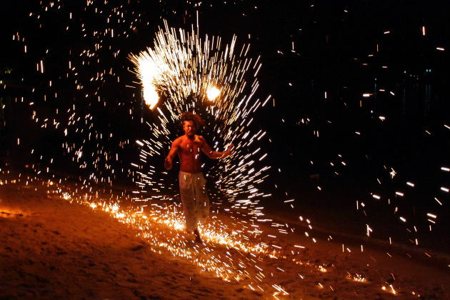Fire Show on Ko Phi Phi Beach, Thailand
