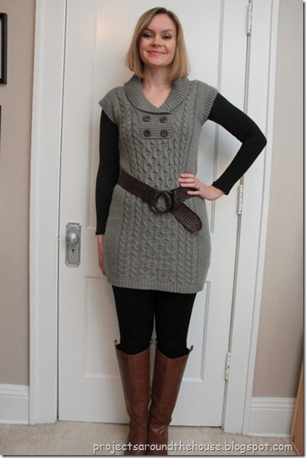 belted gray sweater dress, black leggings, cognac knee hi boots