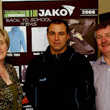 Edel Mc Dermott, Nicky Brujos of Jako Sports, and Eamon Mc Cafferty