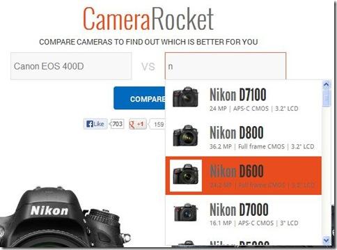 CameraRocket indicare fotocamere reflex da confrontare