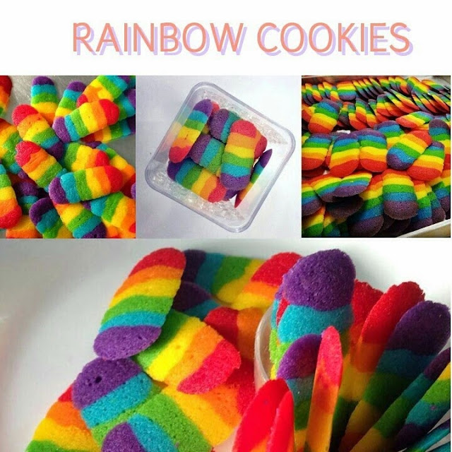 rainbow,cookes,murah,resepi,lidah,kucing,