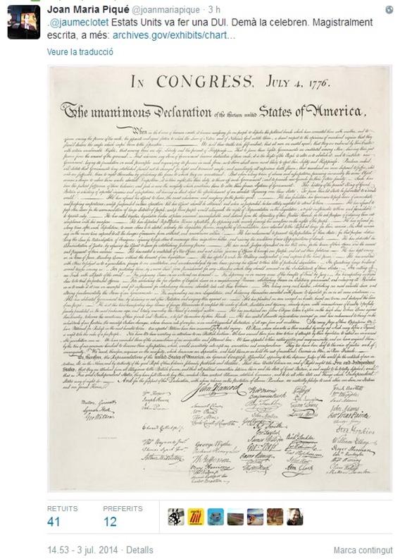 DUI Declaracion Unilaterala d'Independéncia Catalonha Estat-Units