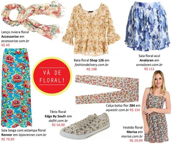Estampas florais: Vestidos, calças, saias e muito mais. 7 dicas de compras online.