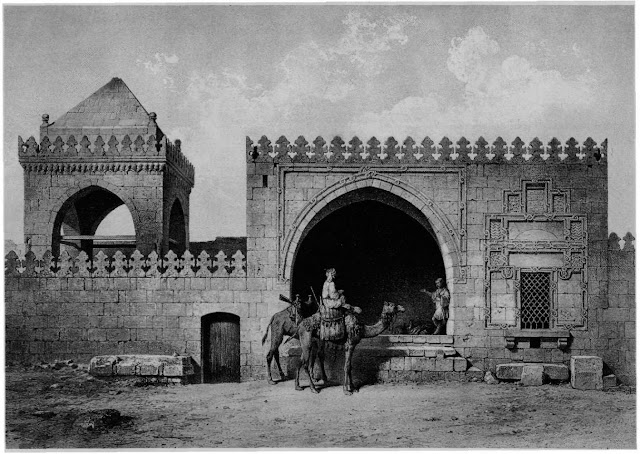 Funerary mosque near Kiman al-Jiyushi, 18th century. This mosque shows how various edifices were grouped around tombs. The facade shows a small room where travelers and passers-by could stay or rest Next to the tomb, crowned by a pyramidal dome, is a sabil-kuttab—a school and cistern.