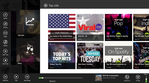 Listen to Spotify with Spotlite Windows 8 Metro App