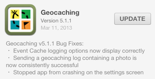 Geocaching version 5.1.1 for iOS