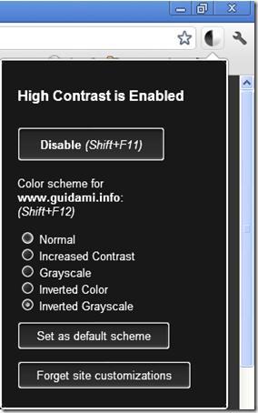 High Cointrast icona e opzioni estensione