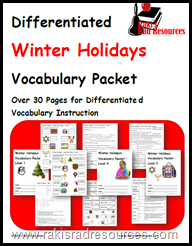 Winter Holiday Vocabulary - Four Free Differentiated Levels - Including information on Christmas, Haunakkah, Kwanza, and Diwali.