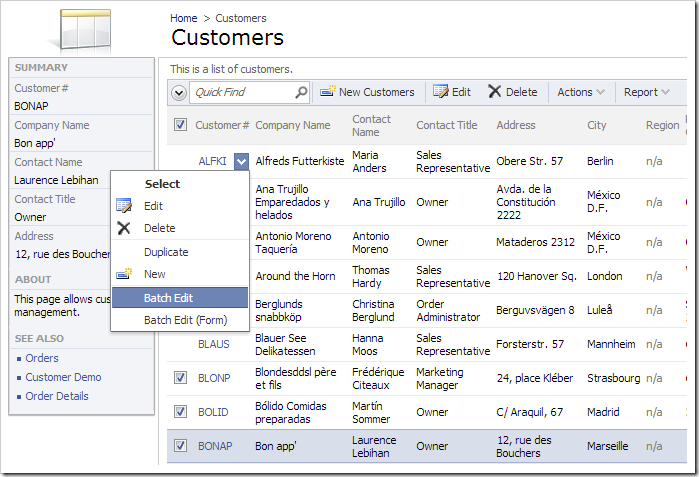 Activating the Batch Edit action in the row context menu.