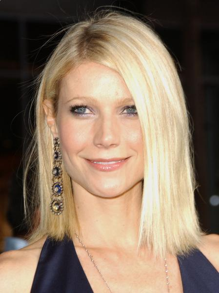 Gwyneth Paltrow long blunt bob with bangs