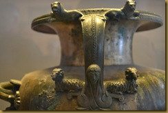 Bronze vase detail tomb