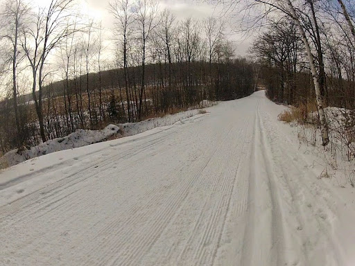 Twin Lakes trail groomed on side. Track has dusting on top of icy base. Fast!