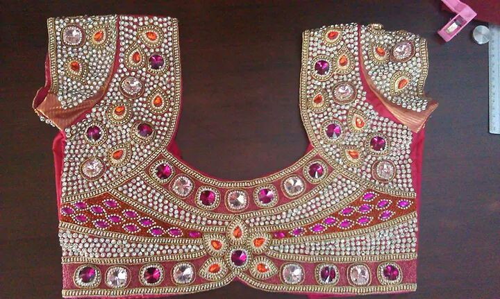 Wedding Blouse Hand Embroidery Designs From Lakmi Tailors Bridal