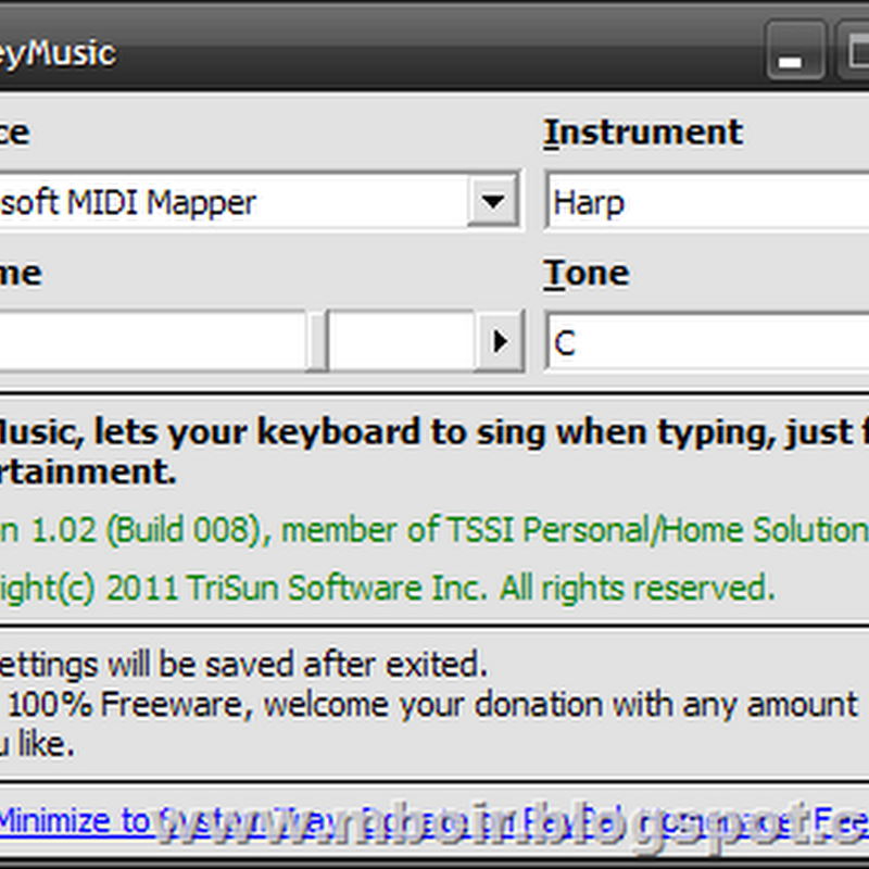 Key Music, Software Pemberi Tone Suara Pada Tombol Keyboard