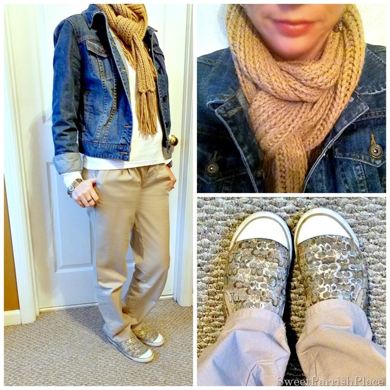 neutral casual outfit with denim jacket