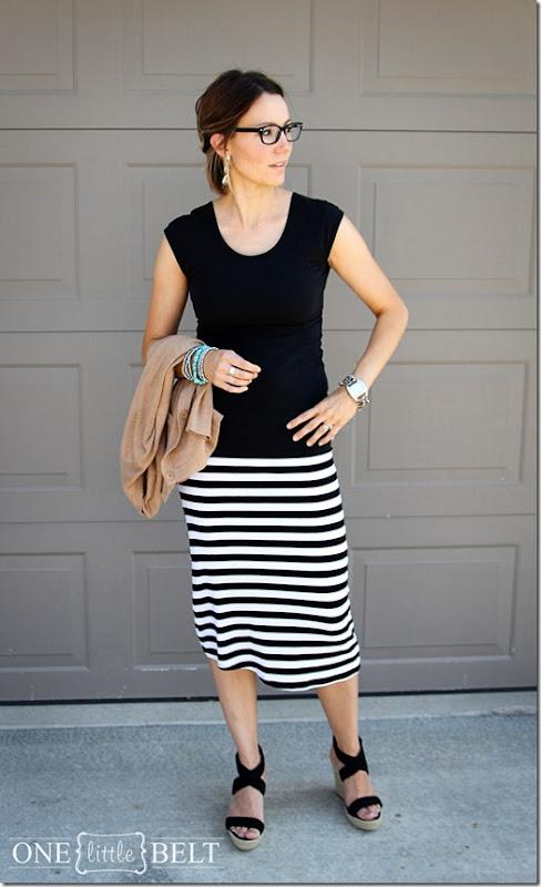 black glasses, striped skirt, wedges