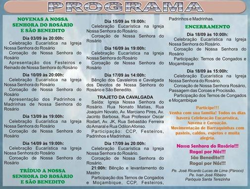 CLIQUE AQUI PARA AMPLIAR - Programa completo da Festa em Louvor a Nossa Senhora do Rosário e São Benedito - Paróquia Santa Terezinha - de 10 a 18 de setembro de 2011