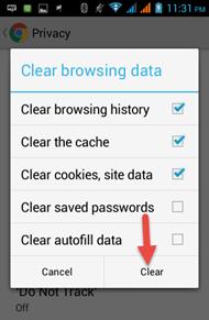 ลบ cookies ใน chrome บน android