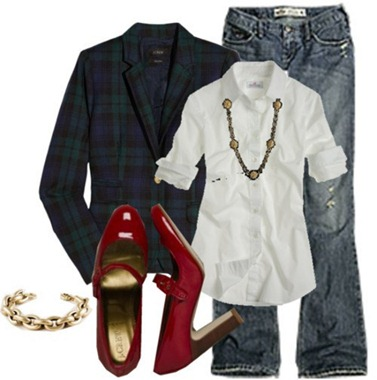 outfit from polyvore with jeans white shirt and red shoes