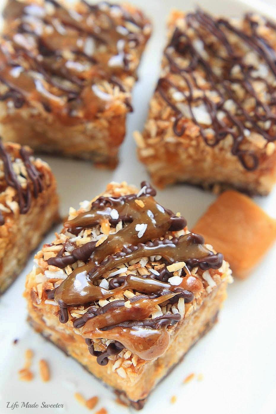 nobake samoa peanut butter cereal bars by