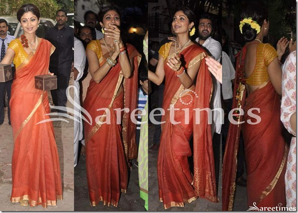 Shilpa_Shetty_Brown_Silk_Saree