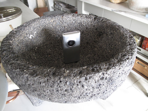 Camera placement is essential.  Hiding one in this molcajete will give us a great view of the walkie-talkie station.