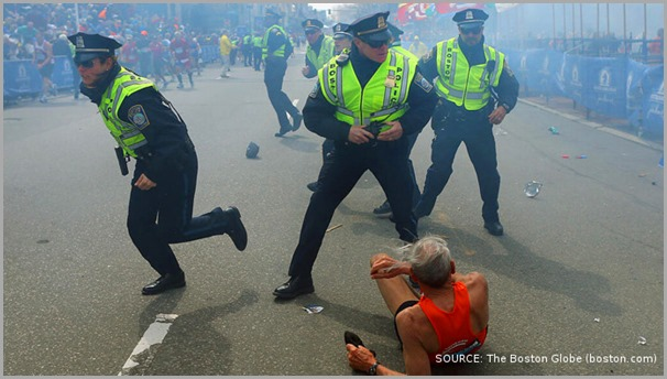 Boston Police leap into action in the moments following one of the explosions at the Boston Marathon. CLICK for coverage from The Boston Globe.